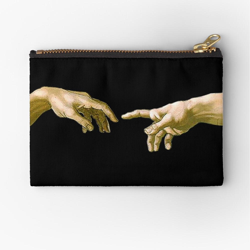 Touch of God, The Creation of Adam, (close up), Michelangelo, 1510, Genesis, Ceiling, Sistine Chapel, Rome, on BLACK Zipper Pouch