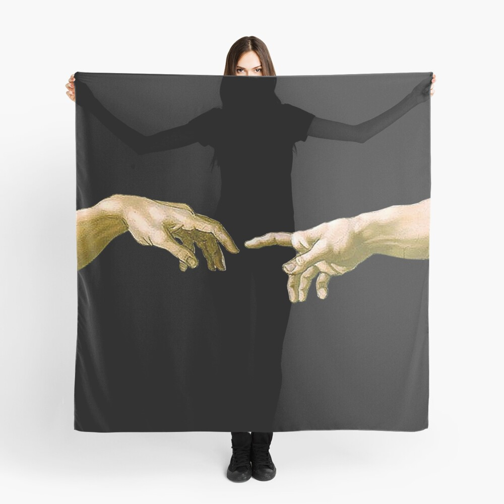 Touch of God, The Creation of Adam, (close up), Michelangelo, 1510, Genesis, Ceiling, Sistine Chapel, Rome, on BLACK Scarf