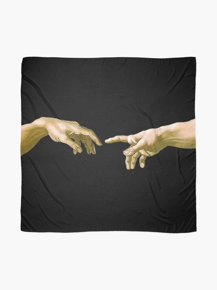 Alternate view of  Touch of God, The Creation of Adam, (close up), Michelangelo, 1510, Genesis, Ceiling, Sistine Chapel, Rome, on BLACK Scarf