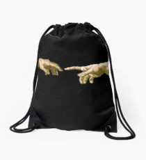Touch of God, The Creation of Adam, (close up), Michelangelo, 1510, Genesis, Ceiling, Sistine Chapel, Rome, on BLACK Drawstring Bag