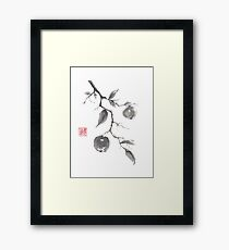 Fruits of the fall sumi-e painting Framed Print