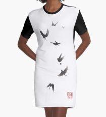Black pennant sumi-e painting Graphic T-Shirt Dress