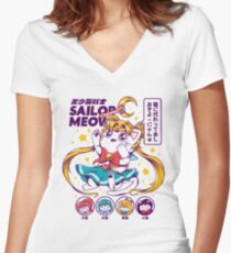 Sailor Meow Fitted V-Neck T-Shirt