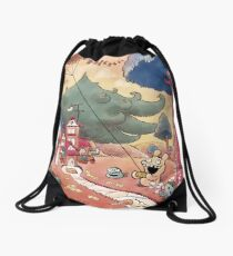 Tobias and Jube: Flying Moustache Drawstring Bag