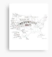 Lámina metálica National Parks Map - Listados los 59 Parques Nacionales
