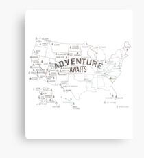 National Parks Map - Lists all 59 National Parks Canvas Print