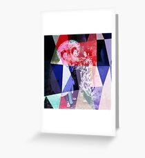 Japanese geishas with umbrellas in colorful abstract style Greeting Card