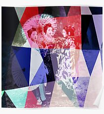 Japanese geishas with umbrellas in colorful abstract style Poster
