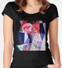 Japanese geishas with umbrellas in colorful abstract style Women's Fitted Scoop T-Shirt