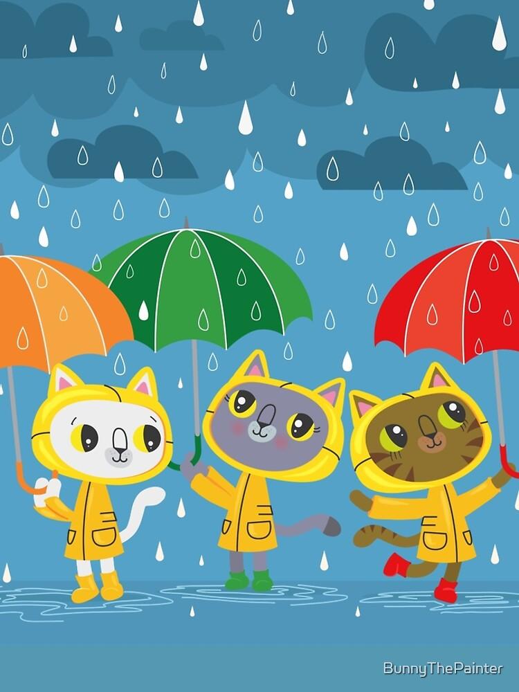Rainy Day Kitty Cats by BunnyThePainter