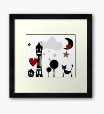 Cat night out Framed Print