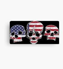 Three Skulls American Flag Design Canvas Print