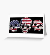 Three Skulls American Flag Design Greeting Card