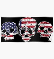 Three Skulls American Flag Design Poster