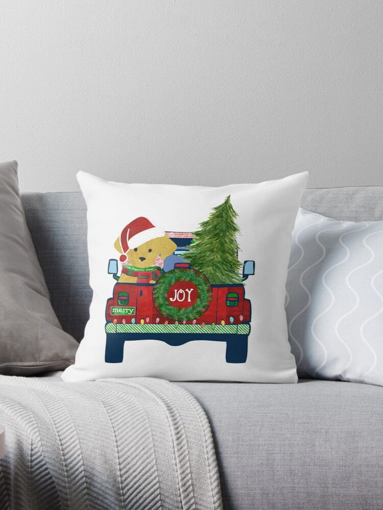 Preppy Christmas Jeep Golden Retriever Puppy Bringing Home Christmas Tree Throw Pillow By Emrdesigns