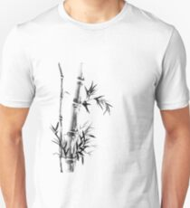 Bamboo stalk with leaves Sumi-e rice paper Zen painting artwork art print Unisex T-Shirt