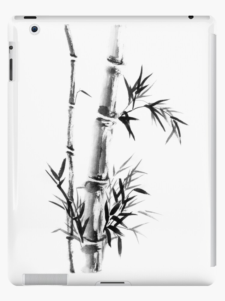 Bamboo stalk with leaves Sumi-e rice paper Zen painting artwork art print by AwenArtPrints