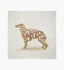 Borzoi Dog Typographic Watercolor Painting Scarf