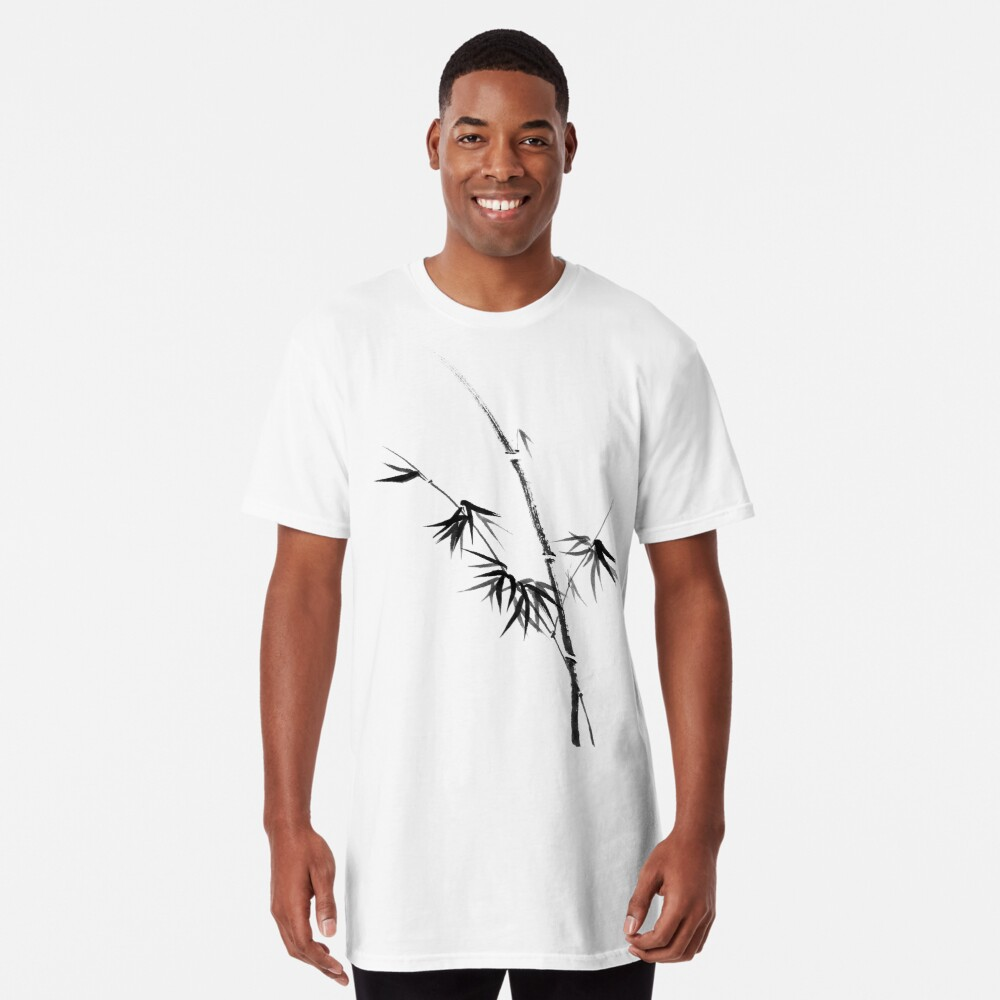 Bamboo stalk with young leaves minimalistic Sumi-e Japanese Zen painting artwork art print Long T-Shirt