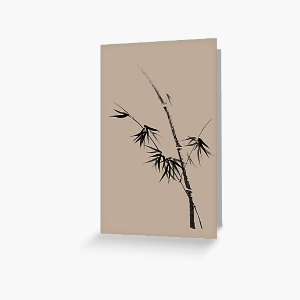 Bamboo stalk with young leaves minimalistic Sumi-e Japanese Zen painting artwork art print Greeting Card