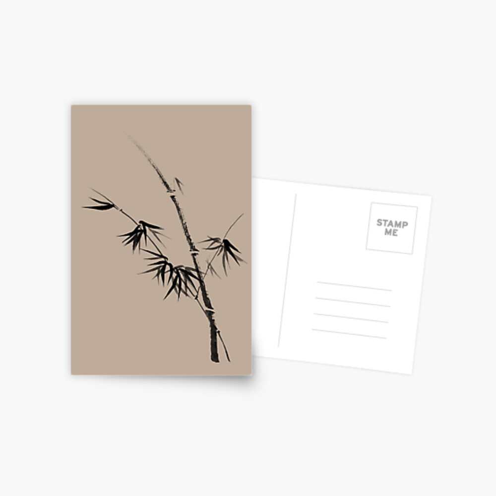 Bamboo stalk with young leaves minimalistic Sumi-e Japanese Zen painting artwork art print Postcard