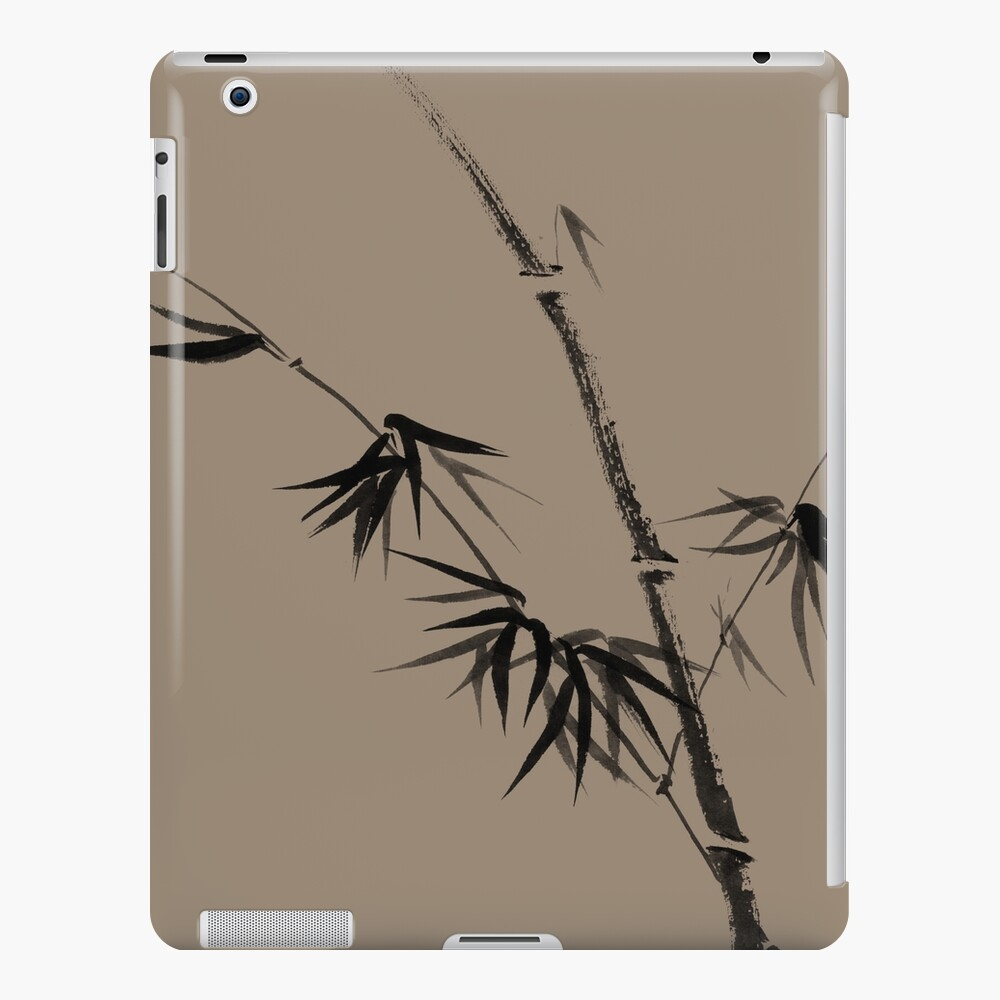 Bamboo stalk with young leaves minimalistic Sumi-e Japanese Zen painting artwork art print iPad Case & Skin