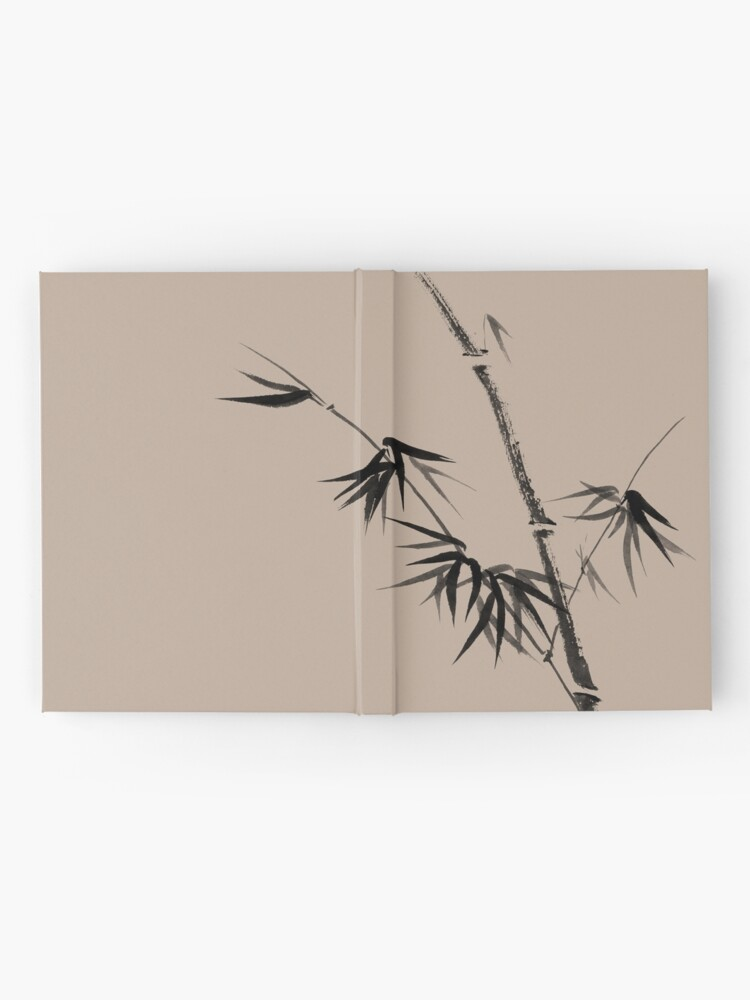 Alternate view of Bamboo stalk with young leaves minimalistic Sumi-e Japanese Zen painting artwork art print Hardcover Journal