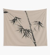 Bamboo stalk with young leaves minimalistic Sumi-e Japanese Zen painting artwork art print Wall Tapestry
