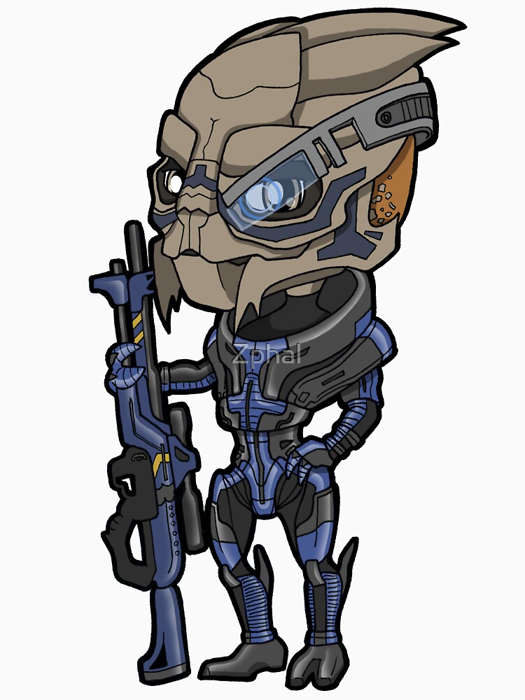 Mass Effect Garrus Vakarian Turian With Sniper Rifle Chibi Sticker