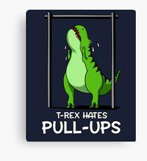 T-Rex Hates Pull-Ups Funny Gym Cartoon Dinosaur Comedy Canvas Print