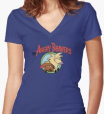 Angry Beavers Women's Fitted V-Neck T-Shirt