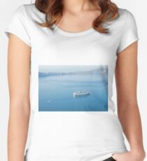Cruise liner at the sea near Santorini island, Greece Women's Fitted Scoop T-Shirt