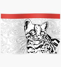 The Elusive Jungle Ocelot- Black &White Wildlife Coloring Book Inspired Design Poster