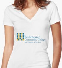 westchester community college Women's Fitted V-Neck T-Shirt