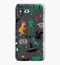 Retro Halloween - on grey - Halloween pattern by Cecca Designs iPhone Case/Skin