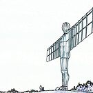 Angel of The North - Line Art by Mark A Hunter