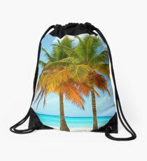 Palm trees on the bank of azure ocean Drawstring Bag