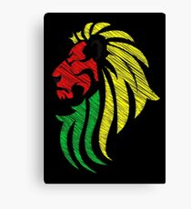 Lion Reggae Flag Colors  Canvas Print