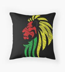 Lion Reggae Flag Colors  Throw Pillow