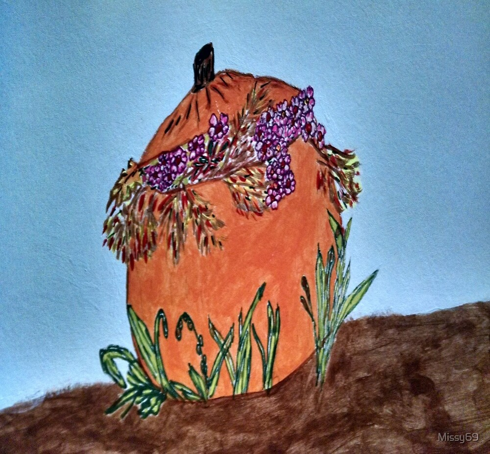 Fall Pumpkin with Flowers Still Life Painting by Missy69