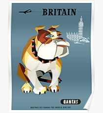 1960 Qantas Britain Bulldog Travel Poster Poster