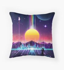 Neon Sunrise Throw Pillow