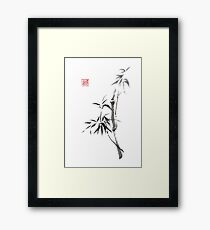 """Into the light"" bamboo sumi-e painting Framed Print"