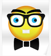 Nerdy Smiley Face Dude Wearing Bow Tie Poster