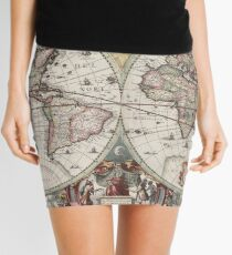 Vintage Maps Of The World. Geographic and Hydrographic Map of the Whole World Mini Skirt