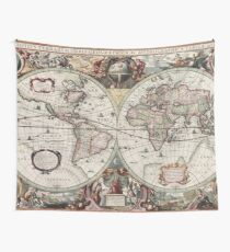 Vintage Karten der Welt. Geographische und hydrographische Karte der ganzen Welt Wandbehang