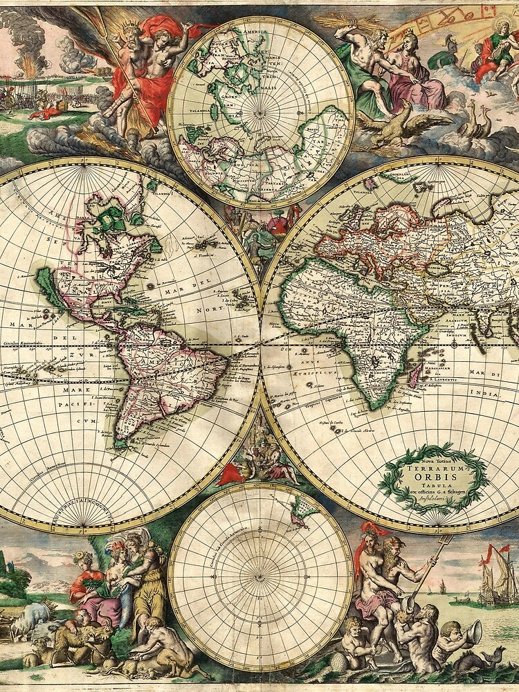 Vintage Maps Of The World 1689 by Goshadron