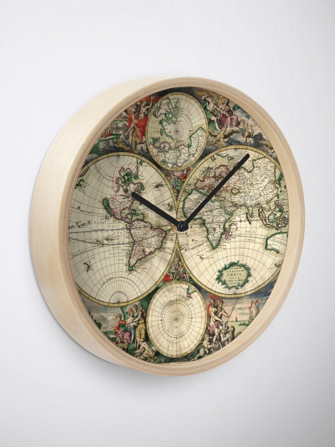 Alternate view of Vintage Maps Of The World 1689 Clock