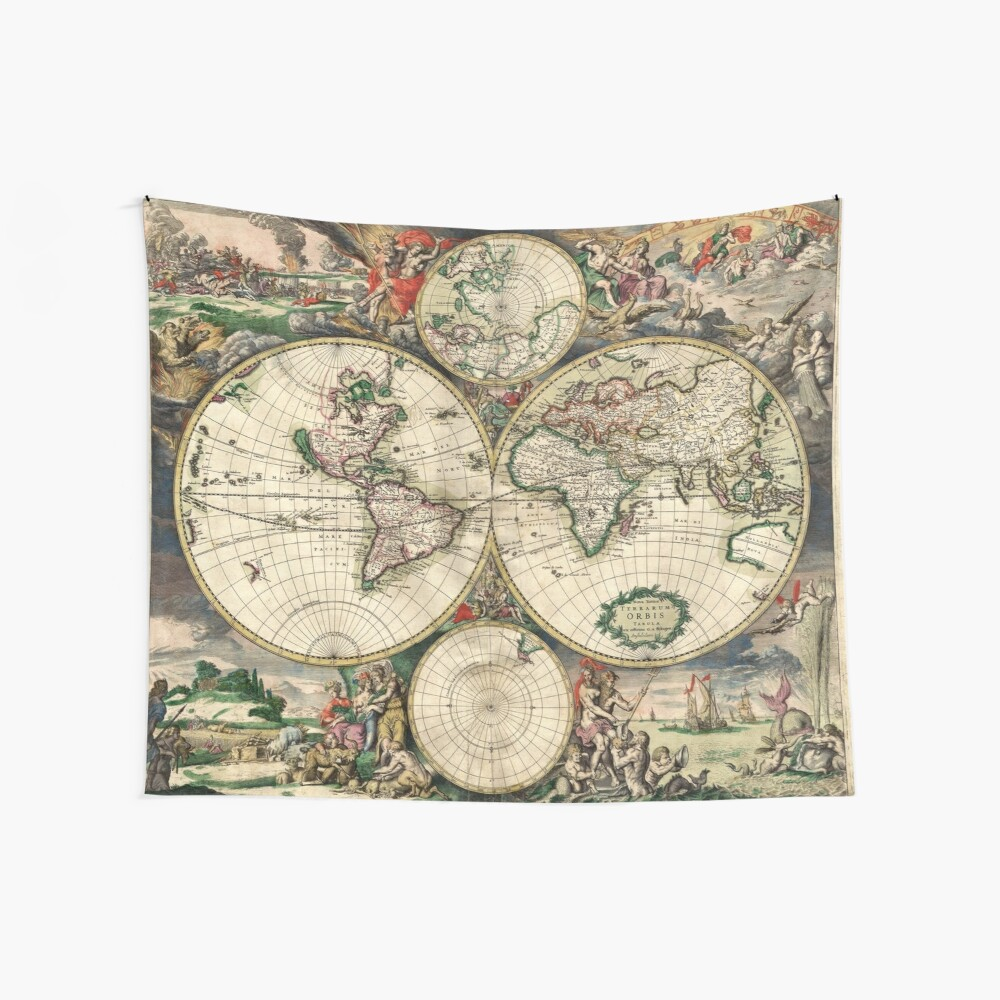 Vintage Maps Of The World 1689 Wall Tapestry