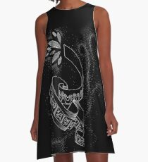 Ribbons and Runes - White on Black A-Line Dress